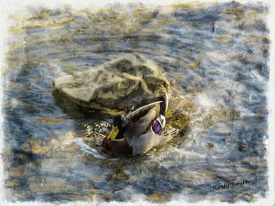 Digital Art - Mallard Splash Landing by Rusty R Smith