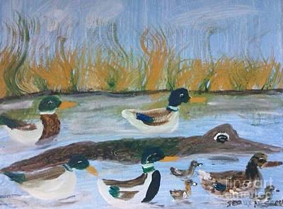 Louisiana Alligator Painting - Mallards And Friend by Seaux-N-Seau Soileau