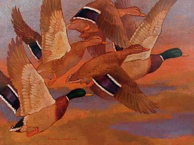 Painting - Mallards by Attila Meszlenyi