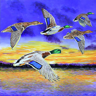 Painting - Mallards Early Morning Flight by Karl Wagner