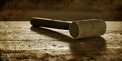 Brown Tones Photograph - Mallet - Wooden Hammer by Nikolyn McDonald
