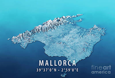 Cartography Digital Art - Mallorca Island 3d Render Satellite View Topographic Map Horizon by Frank Ramspott