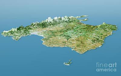 Digital Digital Art - Mallorca Topographic Map 3d Landscape View Natural Color by Frank Ramspott