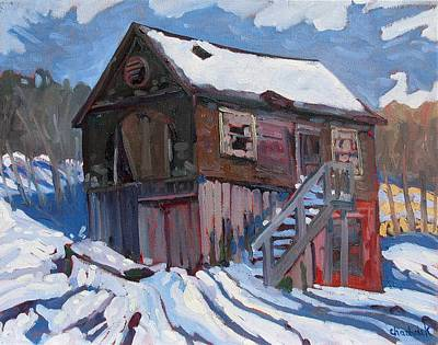 Winter Storm Painting - Mallorytown Marine by Phil Chadwick