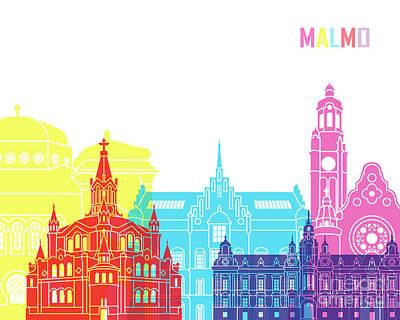 Malmo Painting - Malmo Skyline Pop by Pablo Romero