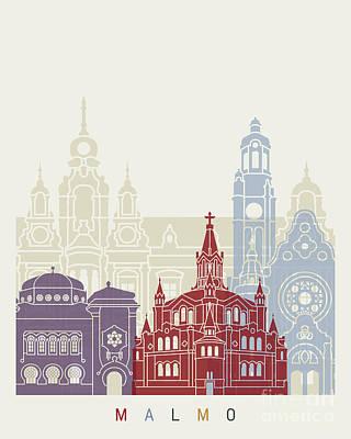 Malmo Skyline Poster Art Print