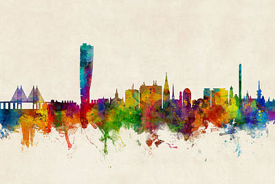 Malmo Digital Art - Malmo Sweden Skyline by Michael Tompsett