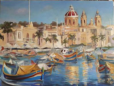 Painting - Malta Marsaxlokk The Fishing Village With Colourful Boats  by Vali Irina Ciobanu
