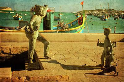 Marsaxlokk Photograph - Malta. Marsaxlokk. The Sculpture Of The Fisherman's Family by Gerlya Sunshine