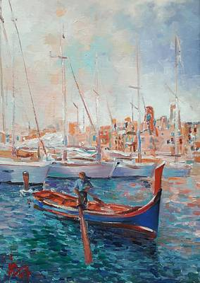 Painting - Malta Painting Vittoriosa Harbour Oil Painting On Canvas by Vali Irina Ciobanu