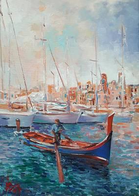 Painting - Malta Painting Vittoriosa Harbour Oil Painting On Canvas by Vali Irina Ciobanu