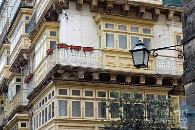 Valletta Photograph - Maltese Architecture With Balconies And Windows, Valletta City  by Dani Prints and Images