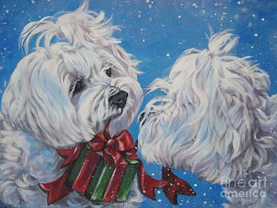 Maltese Christmas Art Print