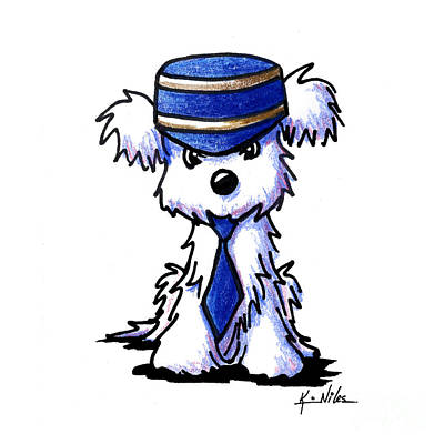 Cute Dogs Drawing - Maltese Conductor by Kim Niles