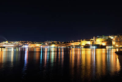 Photograph - Maltese Glow - Valletta Malta Grand Harbour At Night by Georgia Mizuleva
