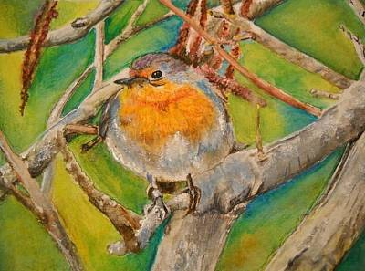 Wall Art - Painting - Maltese Robin by Lisa Cini