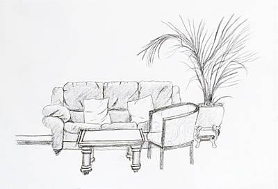 Maltese Drawing - Maltese Sofa by Stephen Brooks
