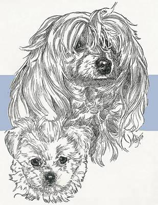 Mixed Media - Maltipoo And Pup by Barbara Keith