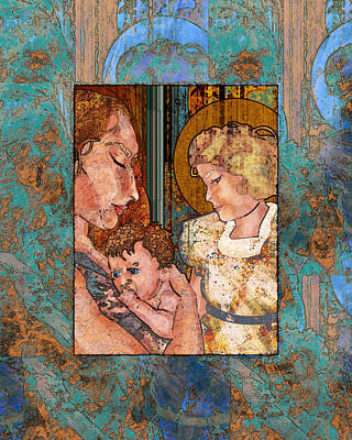 Madonna Digital Art - Mama And Baby And Angel by Mary Ogle