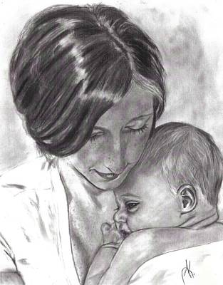Annette Kinship Wall Art - Drawing - Mama And Baby by Annette Kinship