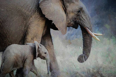 Painting - Mama And Baby Elephant - Painted by Ericamaxine Price