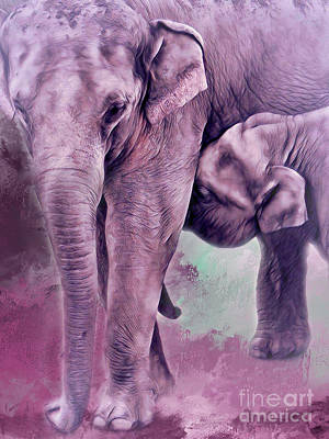 Photograph - Mama And Baby Elephants 1 by Janie Johnson