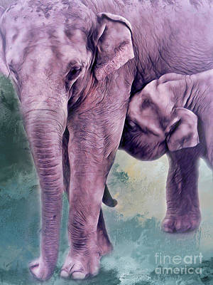Photograph - Mama And Baby Elephants 2 by Janie Johnson