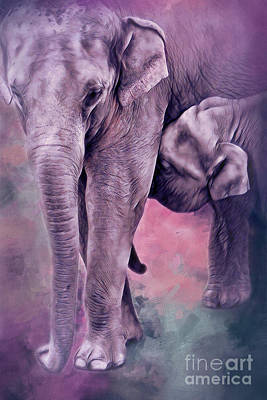 Photograph - Mama And Baby Elephants 3 by Janie Johnson