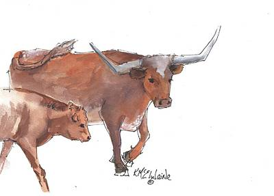 Painting - Mama And Baby Longhorn On The Run by Kathleen McElwaine
