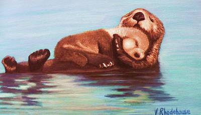 Mama And Baby Otter Art Print