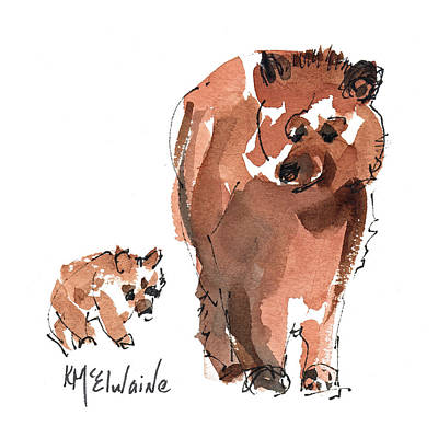California Watercolor Artists Painting - Mama And Baby Series Bear by Kathleen McElwaine