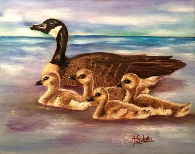 Painting - Mama And Ducklings by Annamarie Sidella-Felts