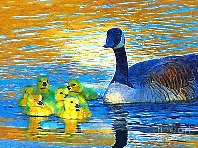 Mama And Her Goslings Art Print by Deborah MacQuarrie-Selib