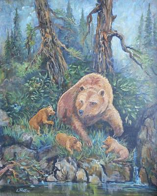 Lynn Burton Wall Art - Painting - Mama Bear With Cubs by Lynn Burton