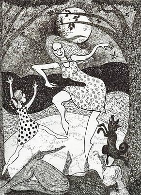 Mama Did The Moon Dance Art Print