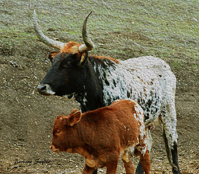 Longhorn Pasture Painting - Mama Longhorn And Baby Painting by Barbara Snyder