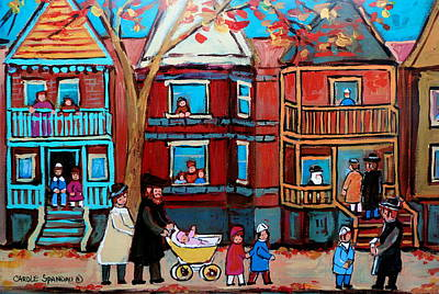 Quebec Painting - Mama  Papa And New Baby by Carole Spandau