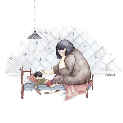 Boy Painting - Mama by Soosh