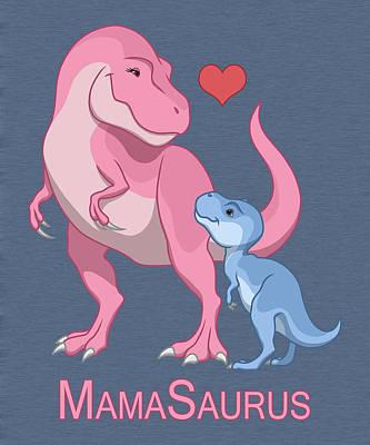 Mama Tyrannosaurus Rex Baby Boy Art Print