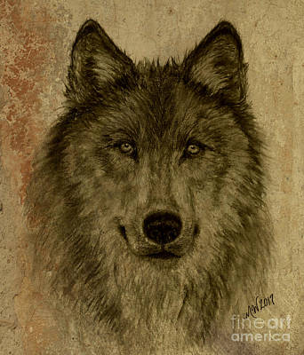 Drawing - Mama Wolf Fresco by Michelle Wolff