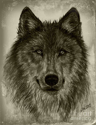 Drawing - Mama Wolf Vintage by Michelle Wolff