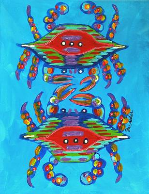 Crawfish Painting - Mambo Crabs by JoAnn Wheeler