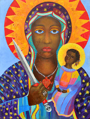 Vodou Painting - Mambo Mama Ezili Danto, Voodoo Goddess, Haiti New Orlean Black Madonna With Heart And Knife by Magdalena Walulik