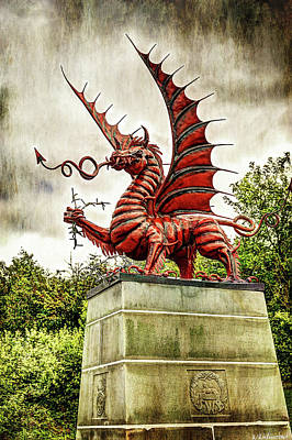 Photograph - Mametz Memorial Welsh Dragon - Vintage Version by Weston Westmoreland