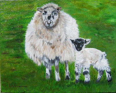 Painting - Mamma And Baby Sheep Of Ireland by LaVonne Hand