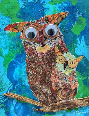 Mixed Media - Mamma And Baby Owl by Anne Sands