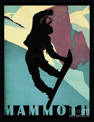 Snowboarder Painting - Mammoth Mountain, Snowboarding Betty by Tina Lavoie