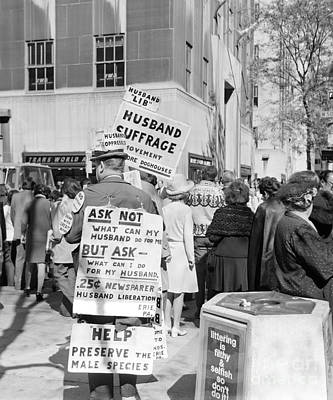 First Amendment Photograph - Man Advocating Husband Suffrage, C.1970s by H. Armstrong Roberts/ClassicStock