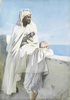 Sit-ins Painting - Man And Boy In Algiers by Eastern Accents