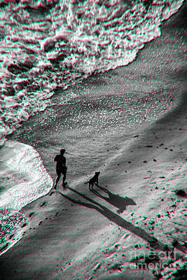 Photograph - Man And Dog On The Beach by Jeff Breiman